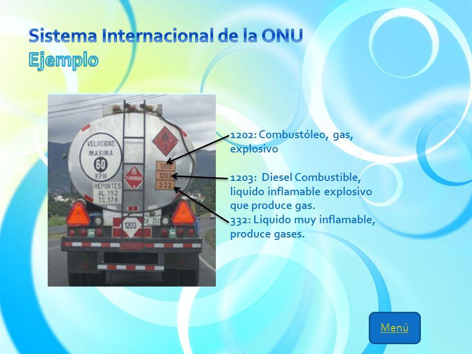 Menú 1202: Combustóleo, gas, explosivo 1203: Diesel Combustible, liquido inflamable explosivo que produce gas.