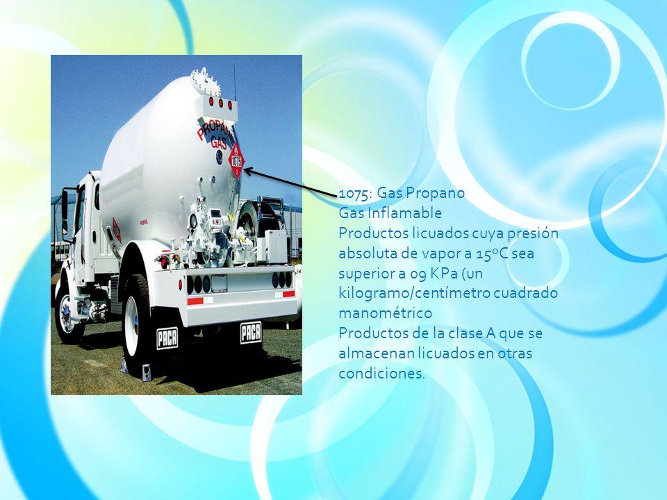 1075: Gas Propano Gas Inflamable Productos licuados cuya presión absoluta de vapor a 15ºC sea superior a 09 KPa (un kilogramo/centímetro cuadrado manométrico Productos de la clase A que se almacenan licuados en otras condiciones.