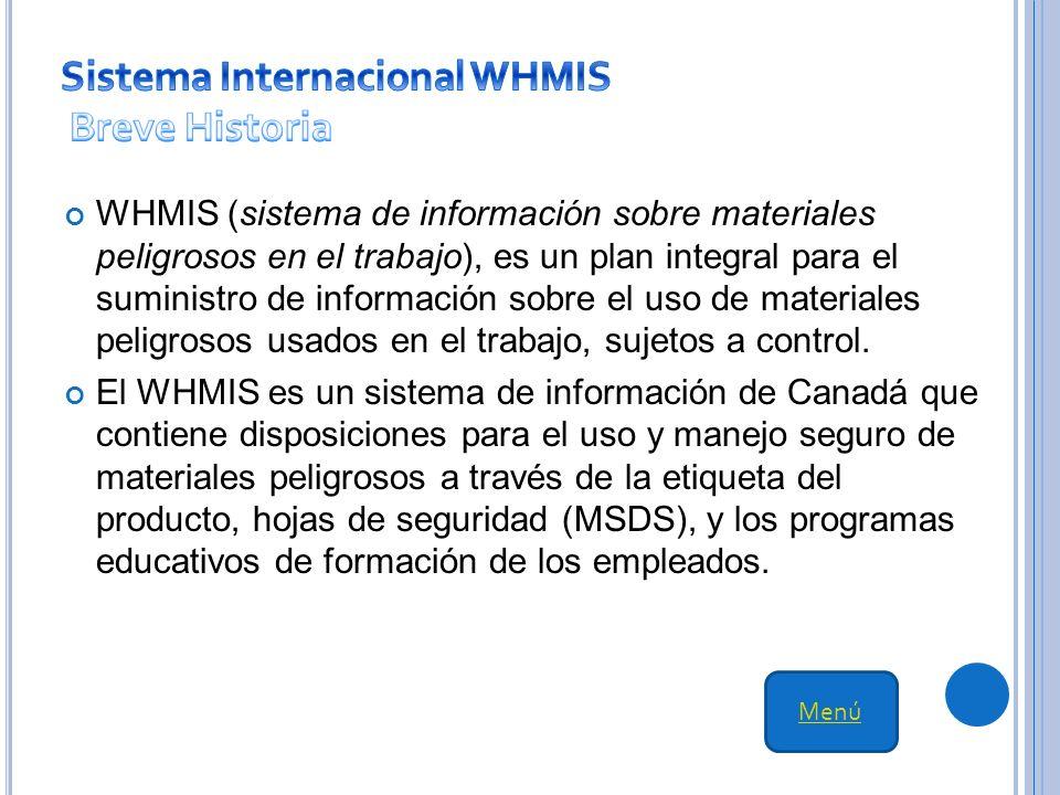 WHMIS (sistema de información sobre materiales peligrosos en el trabajo), es un plan integral para el suministro de información sobre el uso de materiales peligrosos usados en el trabajo, sujetos a control.