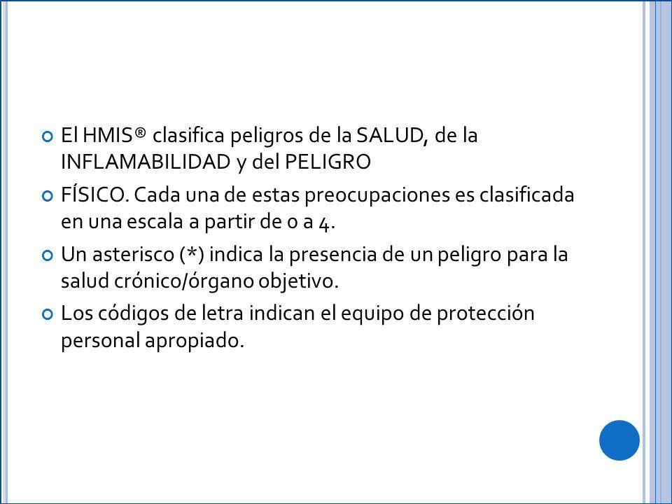 El HMIS® clasifica peligros de la SALUD, de la INFLAMABILIDAD y del PELIGRO FÍSICO.