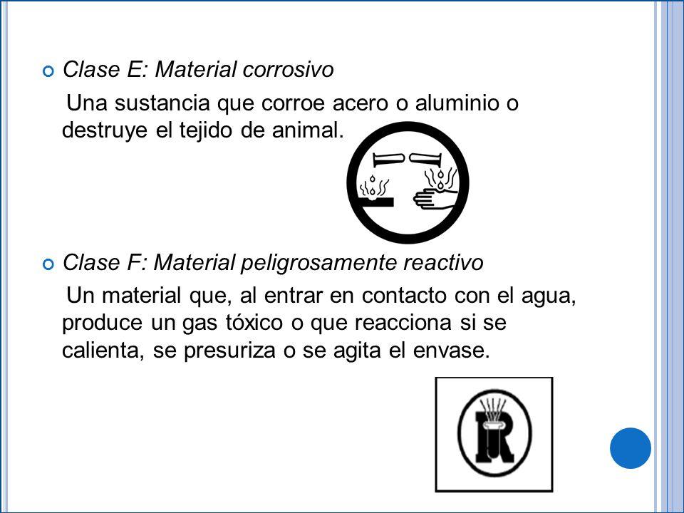 Clase E: Material corrosivo Una sustancia que corroe acero o aluminio o destruye el tejido de animal.