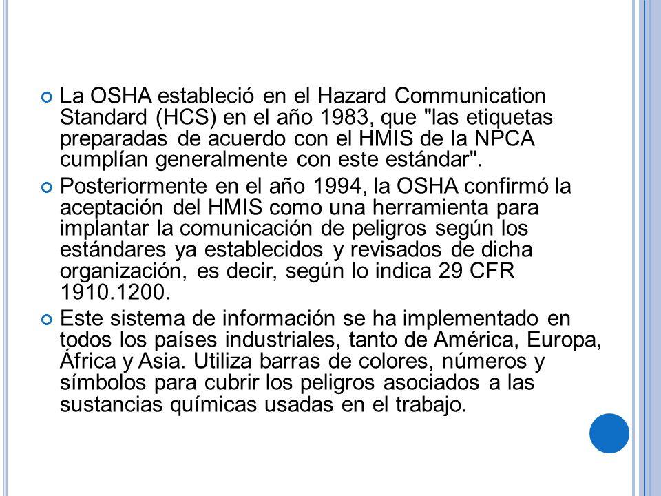 La OSHA estableció en el Hazard Communication Standard (HCS) en el año 1983, que las etiquetas preparadas de acuerdo con el HMIS de la NPCA cumplían generalmente con este estándar .