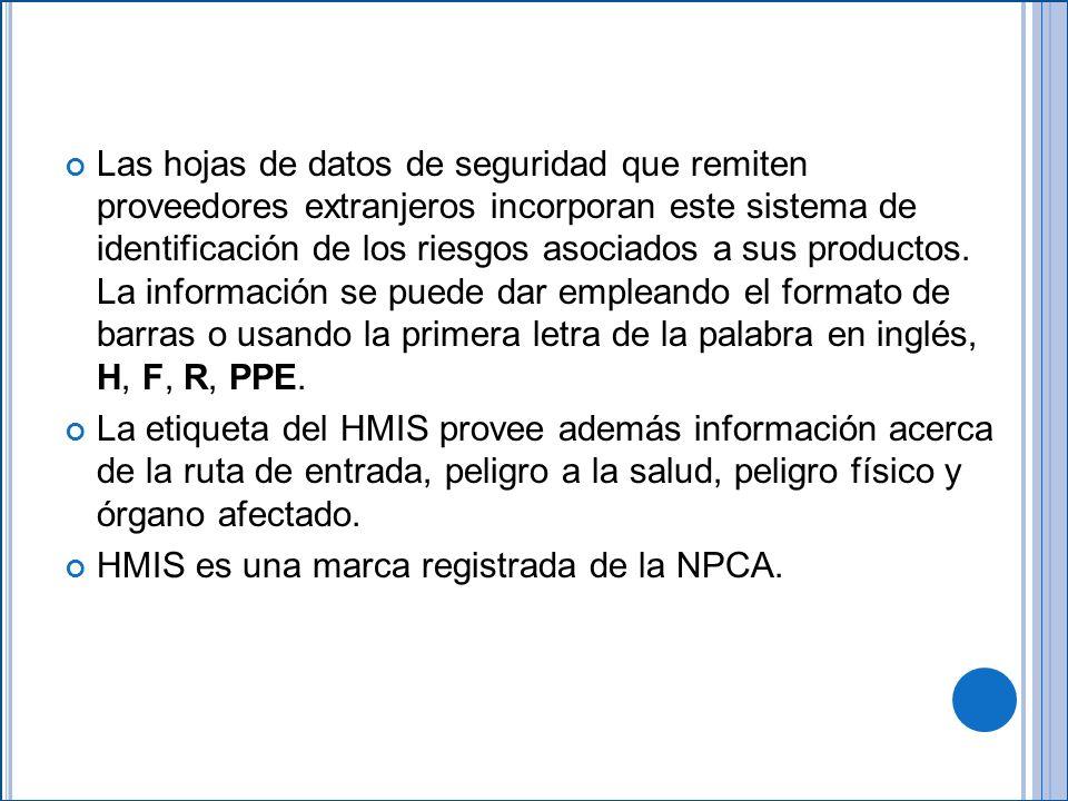 Las hojas de datos de seguridad que remiten proveedores extranjeros incorporan este sistema de identificación de los riesgos asociados a sus productos.