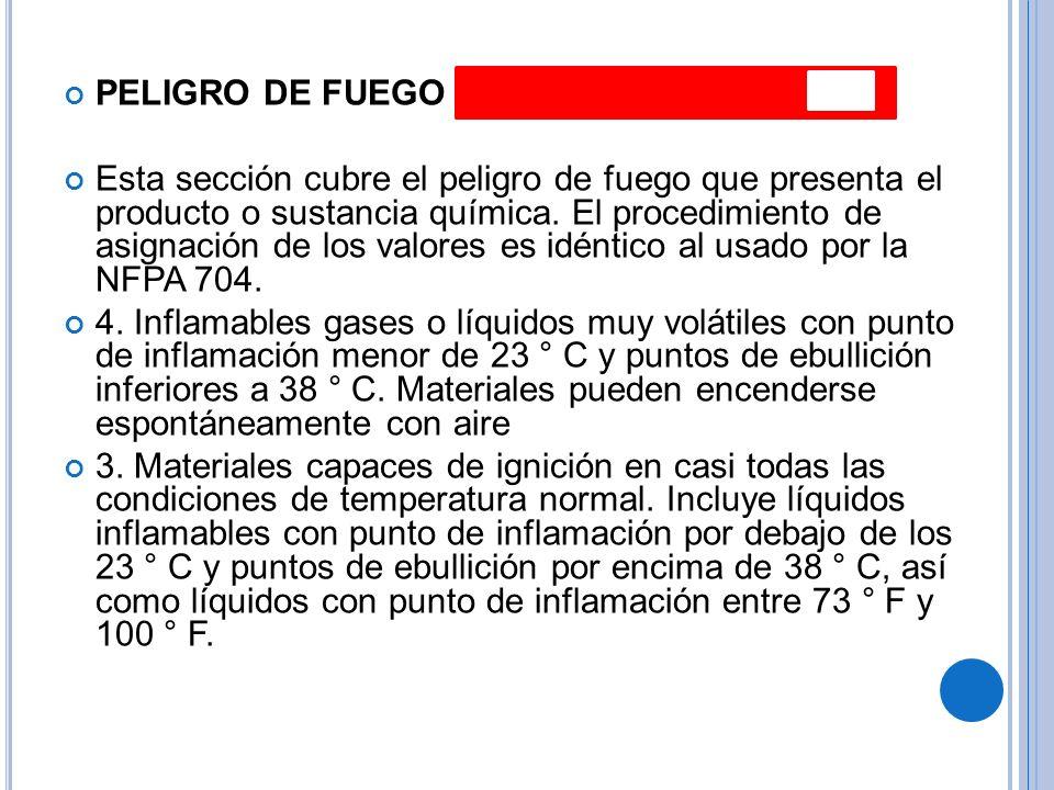 PELIGRO DE FUEGO Esta sección cubre el peligro de fuego que presenta el producto o sustancia química.
