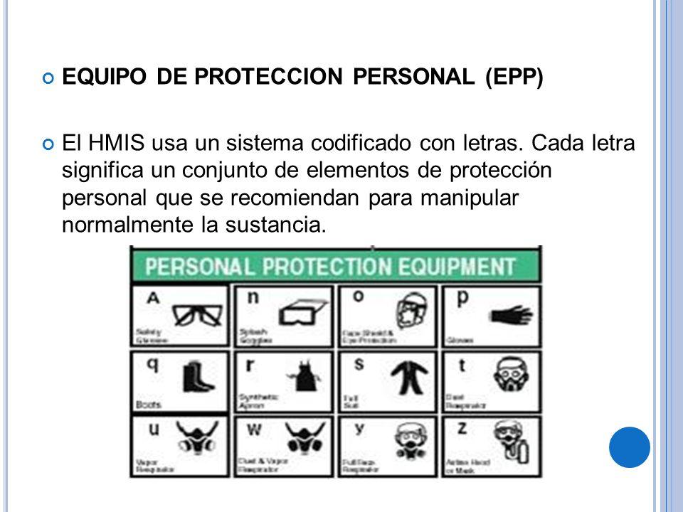 EQUIPO DE PROTECCION PERSONAL (EPP) El HMIS usa un sistema codificado con letras.