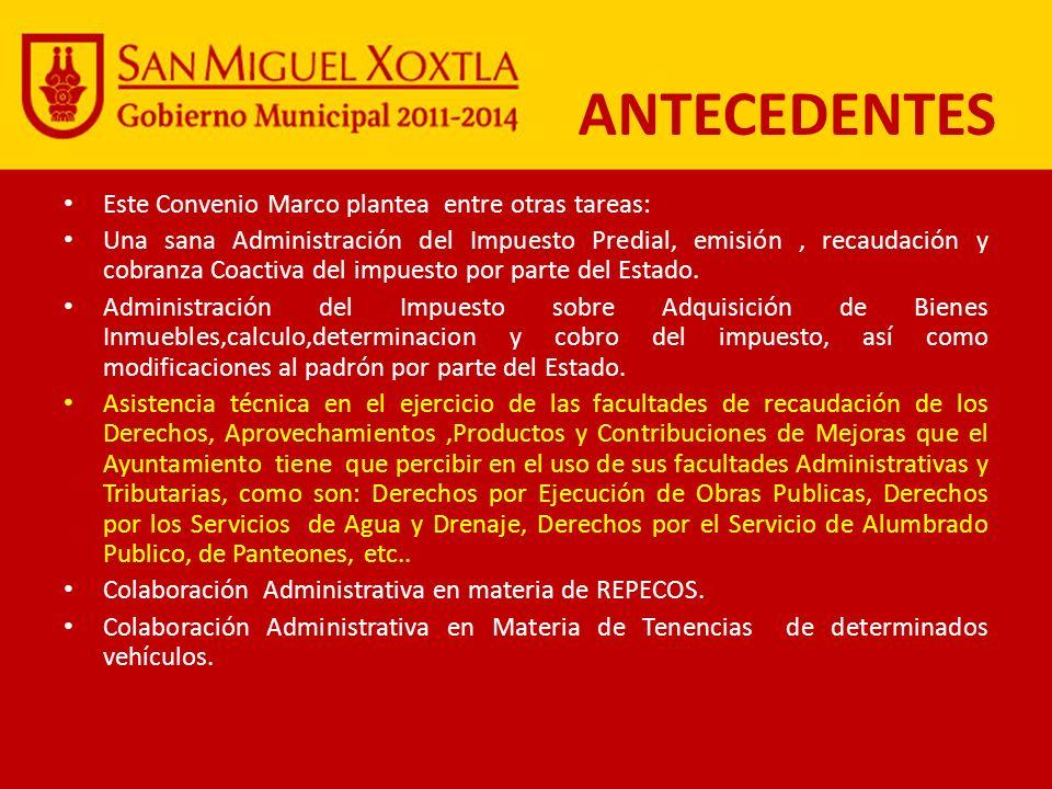 Al 2009 del Total Nacional de recaudación del Impuesto Predial Puebla aporto solo el 1.7%, en tanto que por Derechos de Agua participo con el 2.4%.