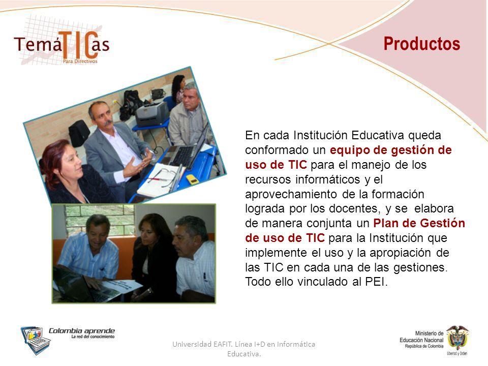 En cada Institución Educativa queda conformado un equipo de gestión de uso de TIC para el manejo de los recursos informáticos y el aprovechamiento de la formación lograda por los docentes, y se elabora de manera conjunta un Plan de Gestión de uso de TIC para la Institución que implemente el uso y la apropiación de las TIC en cada una de las gestiones.