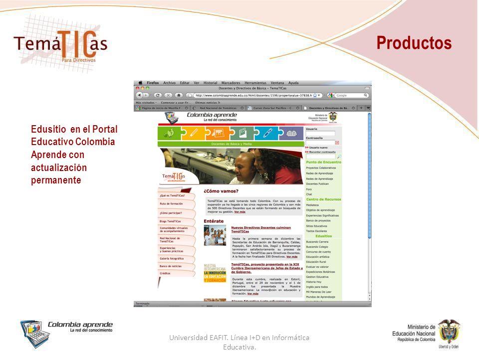 Productos Edusitio en el Portal Educativo Colombia Aprende con actualización permanente Universidad EAFIT.
