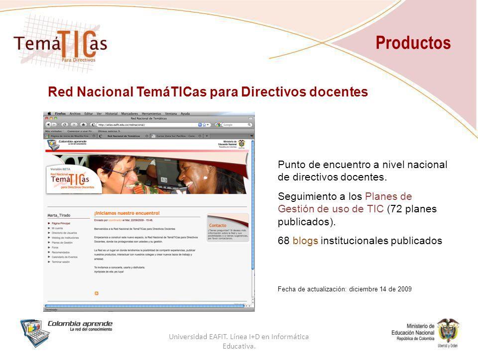 Productos Red Nacional TemáTICas para Directivos docentes Punto de encuentro a nivel nacional de directivos docentes.
