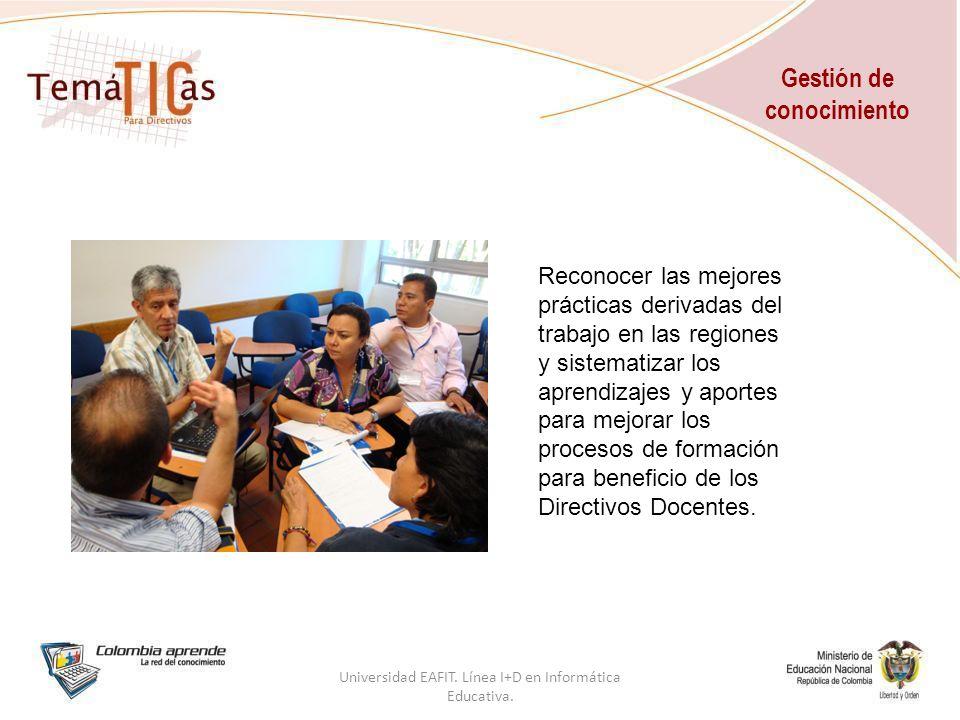 Gestión de conocimiento Universidad EAFIT. Línea I+D en Informática Educativa.