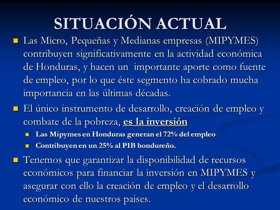 SITUACIÓN ACTUAL Las Micro, Pequeñas y Medianas empresas (MIPYMES) contribuyen significativamente en la actividad económica de Honduras, y hacen un importante aporte como fuente de empleo, por lo que éste segmento ha cobrado mucha importancia en las últimas décadas.