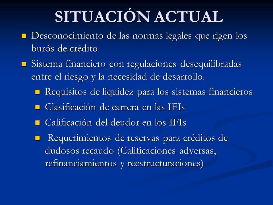 SITUACIÓN ACTUAL Desconocimiento de las normas legales que rigen los burós de crédito Desconocimiento de las normas legales que rigen los burós de crédito Sistema financiero con regulaciones desequilibradas entre el riesgo y la necesidad de desarrollo.