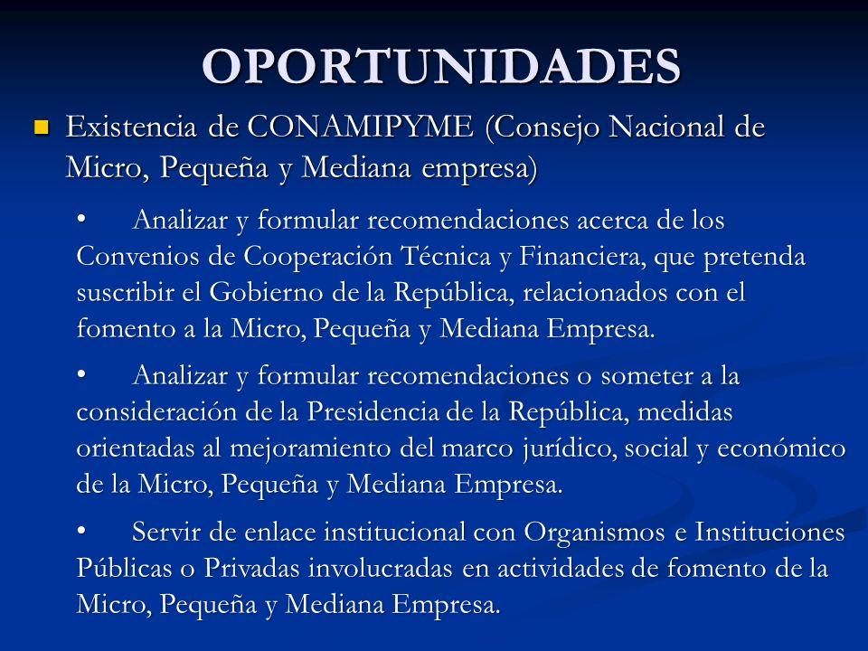 OPORTUNIDADES Existencia de CONAMIPYME (Consejo Nacional de Micro, Pequeña y Mediana empresa) Existencia de CONAMIPYME (Consejo Nacional de Micro, Peq