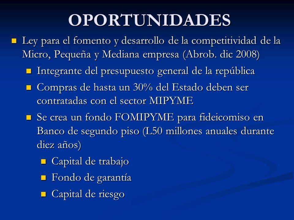 OPORTUNIDADES Ley para el fomento y desarrollo de la competitividad de la Micro, Pequeña y Mediana empresa (Abrob. dic 2008) Ley para el fomento y des