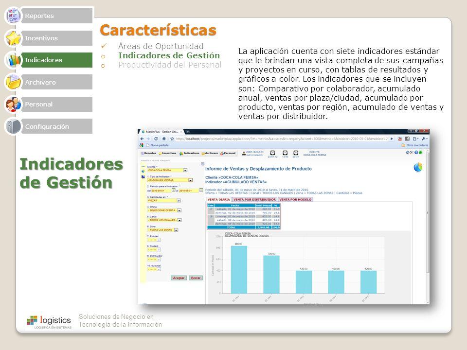 Soluciones de Negocio en Tecnología de la InformaciónCaracterísticas Áreas de Oportunidad o Indicadores de Gestión o Productividad del Personal Indica