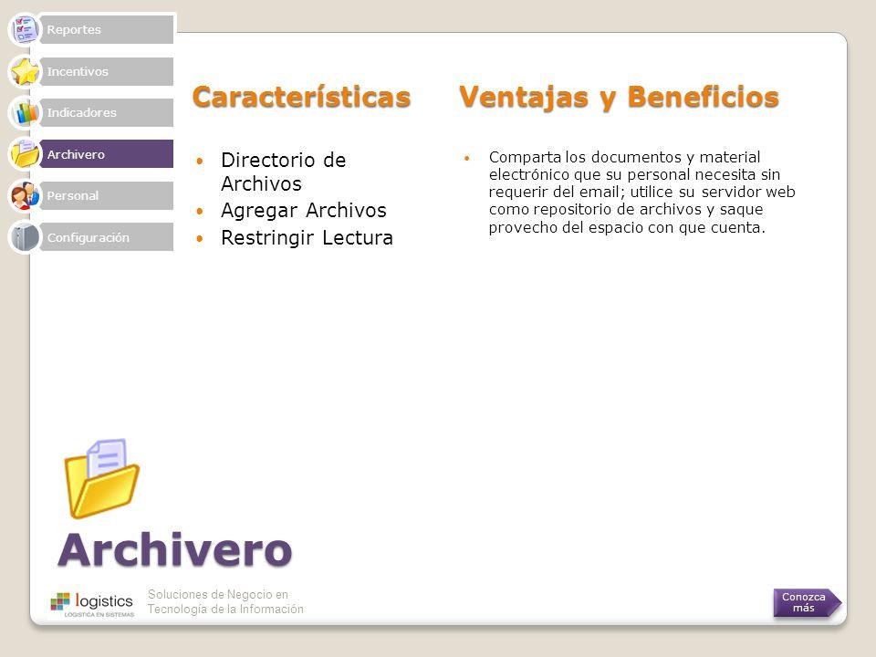 Soluciones de Negocio en Tecnología de la Información Archivero Características Ventajas y Beneficios Directorio de Archivos Agregar Archivos Restring