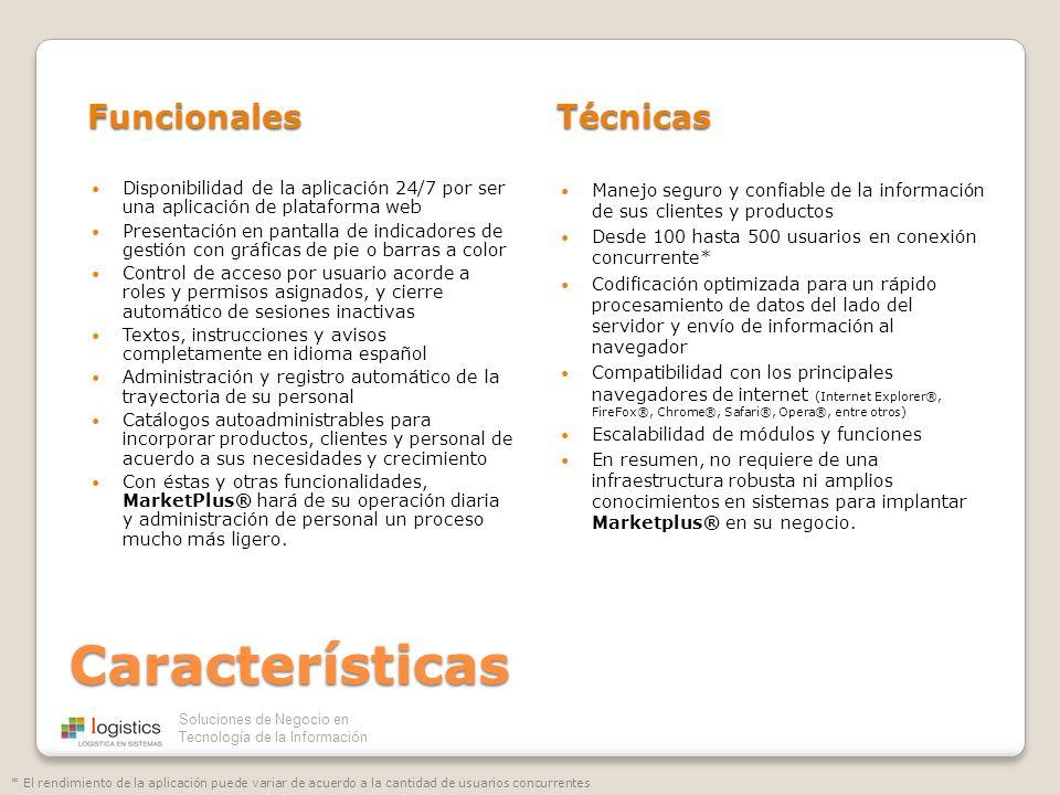 Soluciones de Negocio en Tecnología de la Información Características FuncionalesTécnicas Disponibilidad de la aplicación 24/7 por ser una aplicación