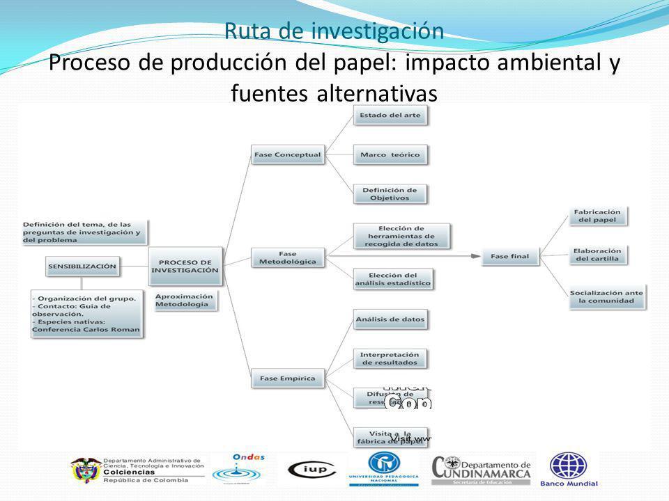 Ruta de investigación Proceso de producción del papel: impacto ambiental y fuentes alternativas