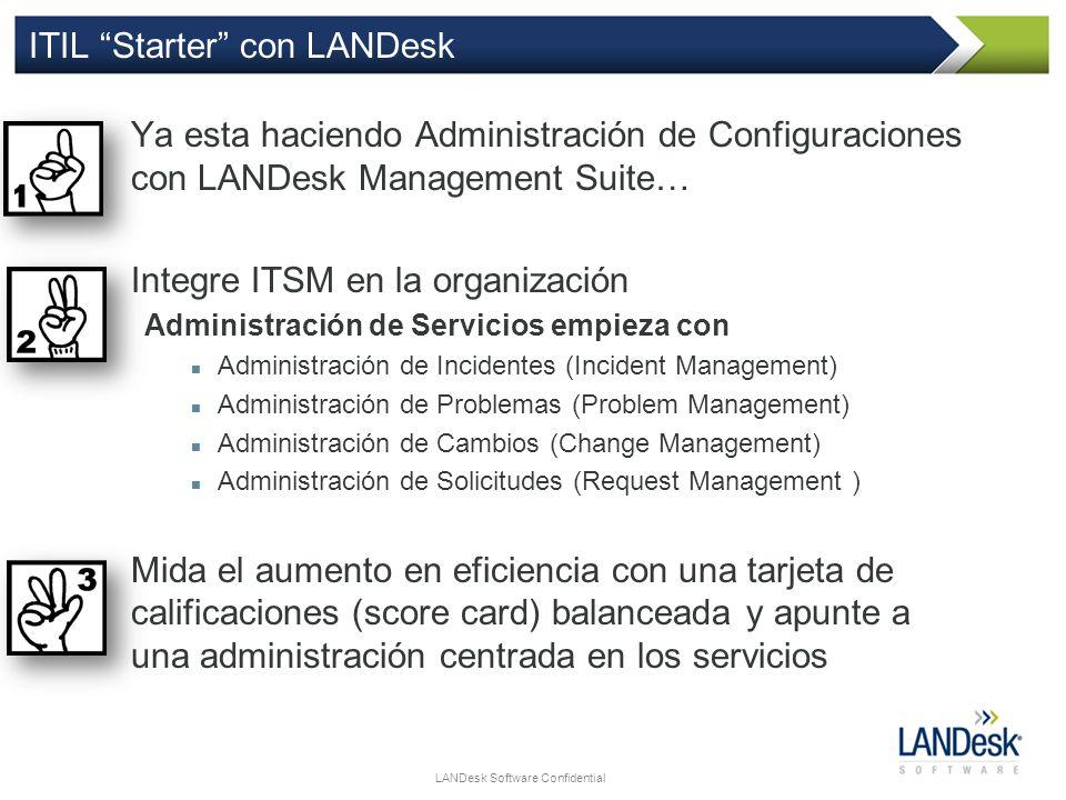 LANDesk Software Confidential ITIL Starter con LANDesk Ya esta haciendo Administración de Configuraciones con LANDesk Management Suite… Integre ITSM e