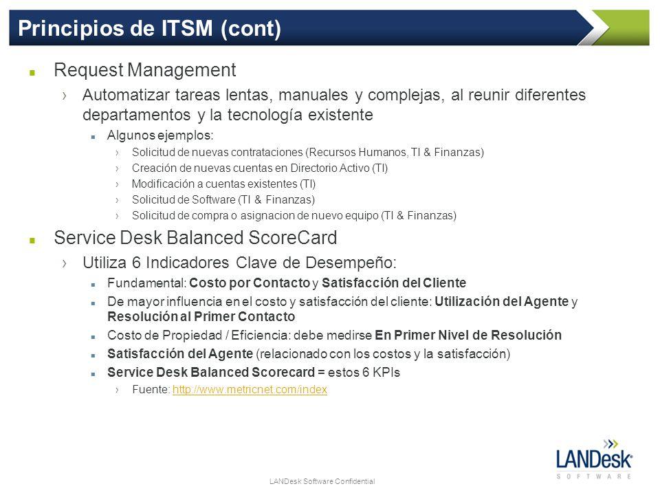 LANDesk Software Confidential Principios de ITSM (cont) Request Management Automatizar tareas lentas, manuales y complejas, al reunir diferentes depar