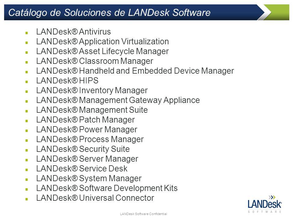 LANDesk Software Confidential Catálogo de Soluciones de LANDesk Software LANDesk® Antivirus LANDesk® Application Virtualization LANDesk® Asset Lifecyc