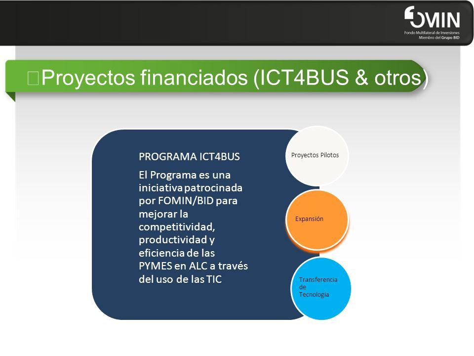 """""""Proyectos financiados (ICT4BUS & otros) PROGRAMA ICT4BUS El Programa es una iniciativa patrocinada por FOMIN/BID para mejorar la competitividad, productividad y eficiencia de las PYMES en ALC a través del uso de las TIC Proyectos Pilotos Expansión Transferencia de Tecnología"""