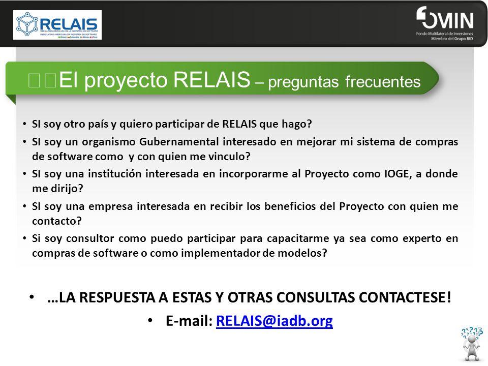 """""""""""El proyecto RELAIS – preguntas frecuentes SI soy otro país y quiero participar de RELAIS que hago."""