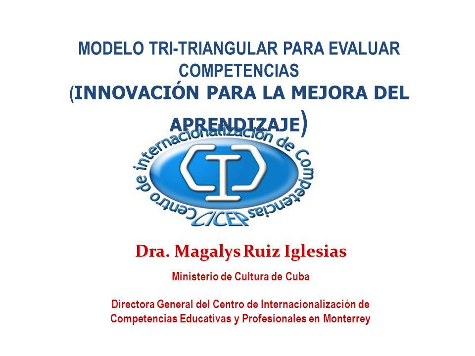 MODELO TRI-TRIANGULAR PARA EVALUAR COMPETENCIAS ( INNOVACIÓN PARA LA MEJORA DEL APRENDIZAJE ) Dra. Magalys Ruiz Iglesias Ministerio de Cultura de Cuba