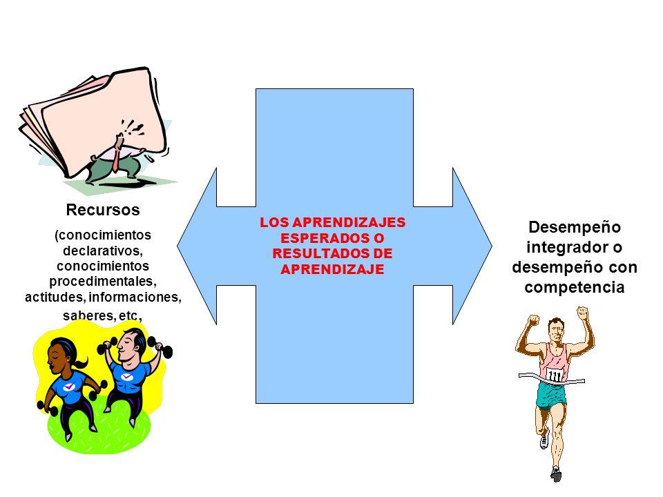 LOS APRENDIZAJES ESPERADOS O RESULTADOS DE APRENDIZAJE Recursos (conocimientos declarativos, conocimientos procedimentales, actitudes, informaciones,
