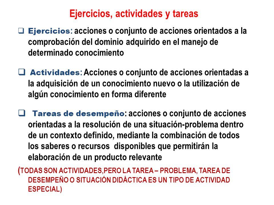 Ejercicios, actividades y tareas Ejercicios : acciones o conjunto de acciones orientados a la comprobación del dominio adquirido en el manejo de deter