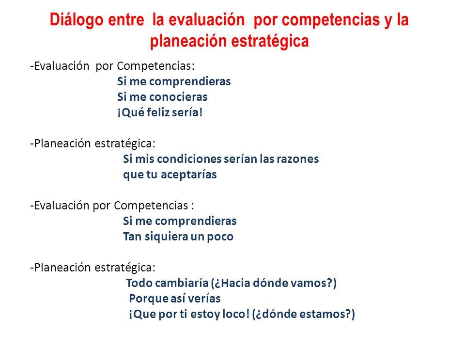 Diálogo entre la evaluación por competencias y la planeación estratégica -Evaluación por Competencias: Si me comprendieras Si me conocieras ¡Qué feliz