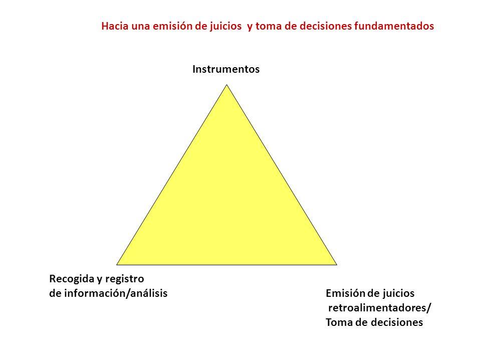 Hacia una emisión de juicios y toma de decisiones fundamentados Instrumentos Recogida y registro de información/análisisEmisión de juicios retroalimen