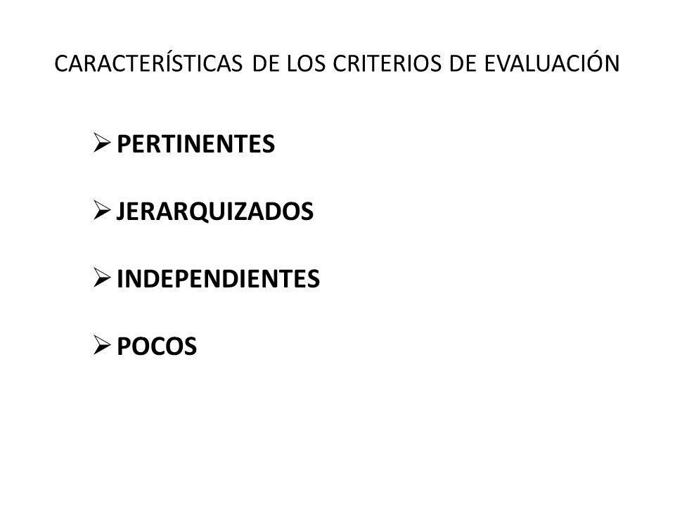PERTINENTES JERARQUIZADOS INDEPENDIENTES POCOS CARACTERÍSTICAS DE LOS CRITERIOS DE EVALUACIÓN