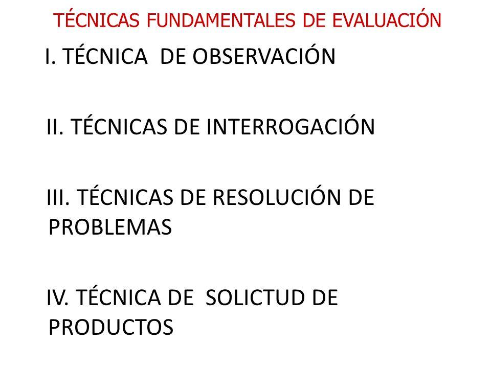 TÉCNICAS FUNDAMENTALES DE EVALUACIÓN I. TÉCNICA DE OBSERVACIÓN II. TÉCNICAS DE INTERROGACIÓN III. TÉCNICAS DE RESOLUCIÓN DE PROBLEMAS IV. TÉCNICA DE S