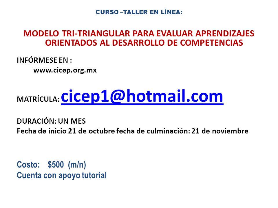 CURSO –TALLER EN LÍNEA: MODELO TRI-TRIANGULAR PARA EVALUAR APRENDIZAJES ORIENTADOS AL DESARROLLO DE COMPETENCIAS INFÓRMESE EN : www.cicep.org.mx MATRÍ