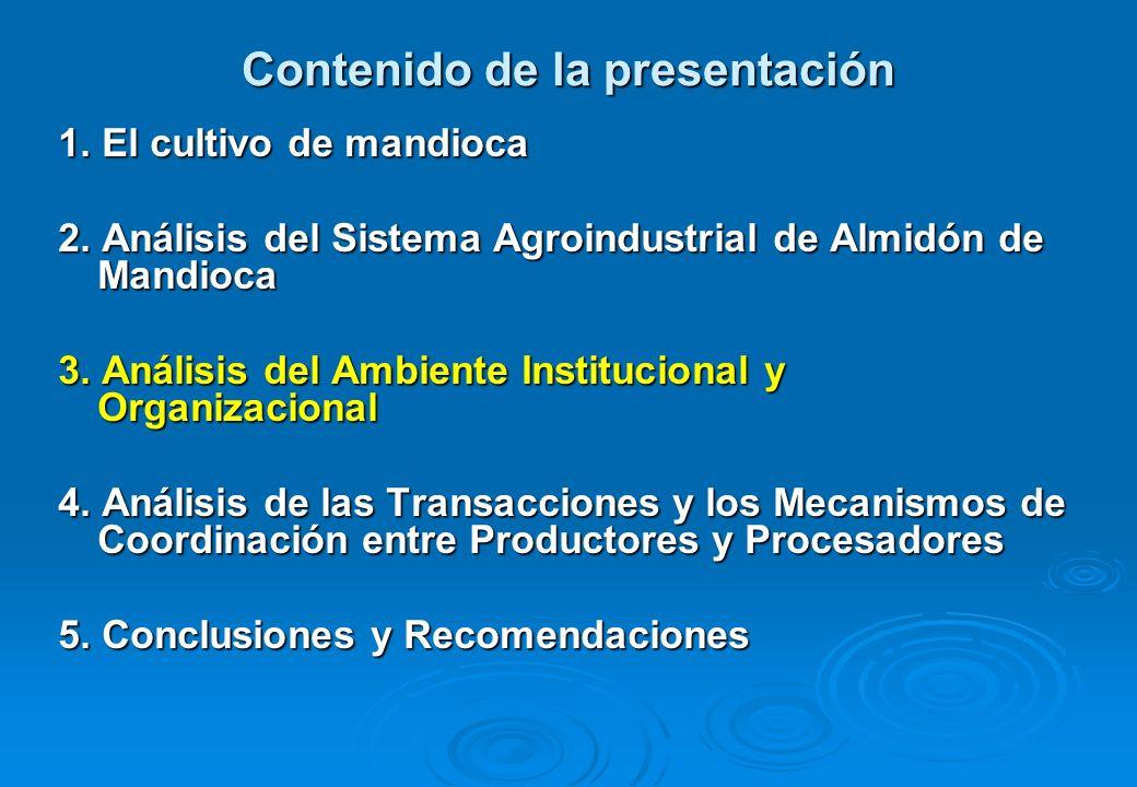 Contenido de la presentación 1.El cultivo de mandioca 2.