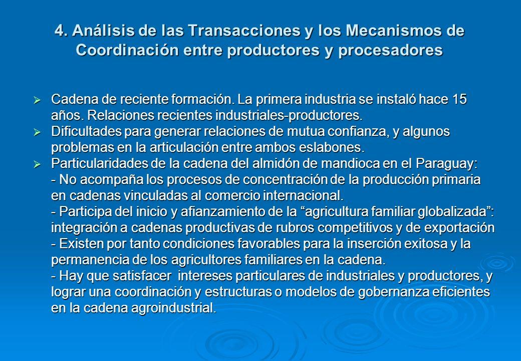 4. Análisis de las Transacciones y los Mecanismos de Coordinación entre productores y procesadores Cadena de reciente formación. La primera industria