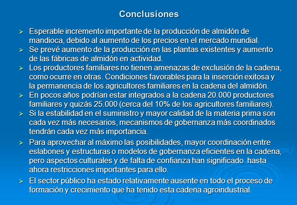 Conclusiones Esperable incremento importante de la producción de almidón de mandioca, debido al aumento de los precios en el mercado mundial.