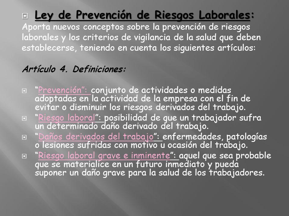 Ley de Prevención de Riesgos Laborales: Ley de Prevención de Riesgos Laborales: Aporta nuevos conceptos sobre la prevención de riesgos laborales y los
