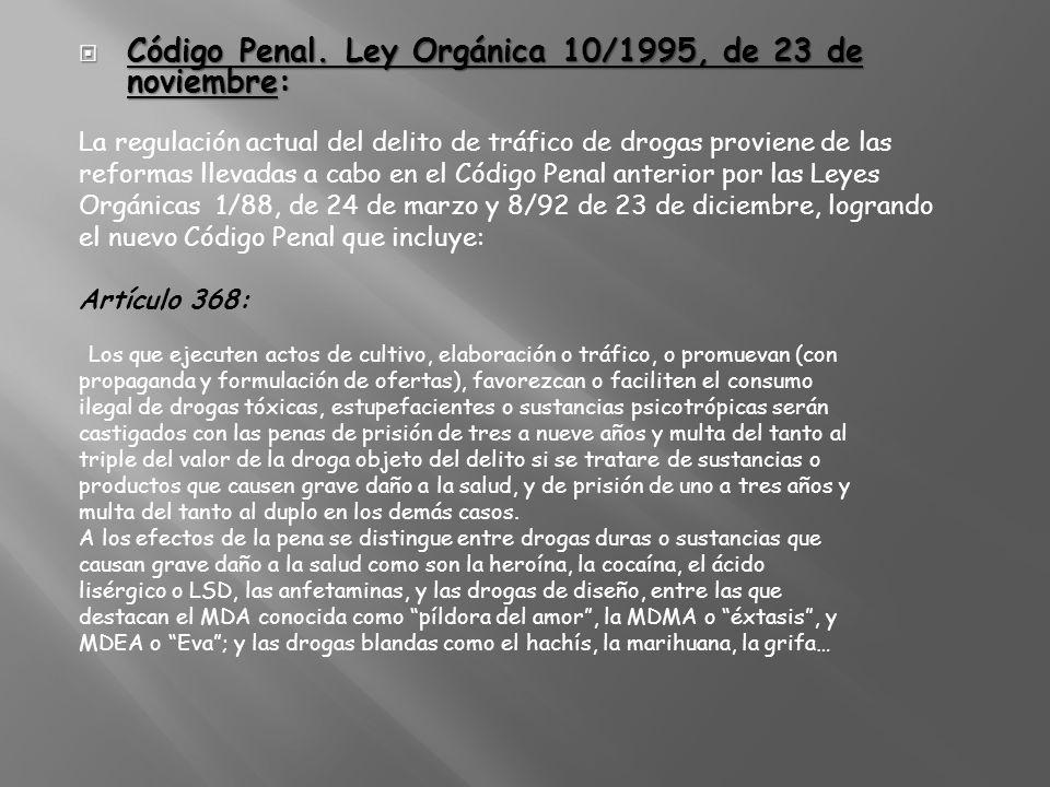 Código Penal. Ley Orgánica 10/1995, de 23 de noviembre: Código Penal. Ley Orgánica 10/1995, de 23 de noviembre: La regulación actual del delito de trá