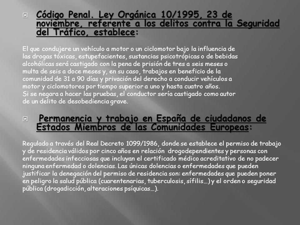 Código Penal. Ley Orgánica 10/1995, 23 de noviembre, referente a los delitos contra la Seguridad del Tráfico, establece: Código Penal. Ley Orgánica 10
