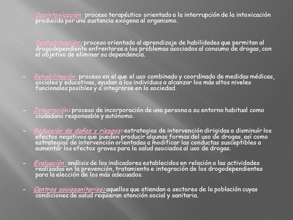 - Desintoxicación: proceso terapéutico orientado a la interrupción de la intoxicación producida por una sustancia exógena al organismo. - Deshabituaci