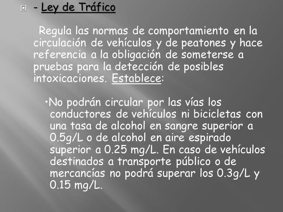 - Ley de Tráfico - Ley de Tráfico Regula las normas de comportamiento en la circulación de vehículos y de peatones y hace referencia a la obligación d