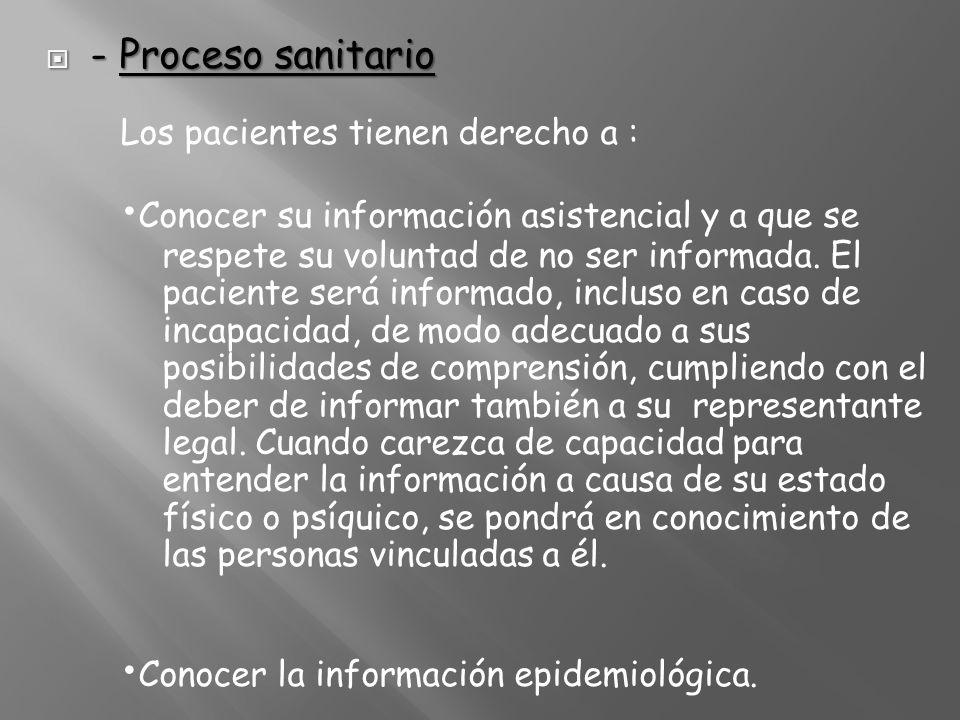 - Proceso sanitario - Proceso sanitario Los pacientes tienen derecho a : Conocer su información asistencial y a que se respete su voluntad de no ser i