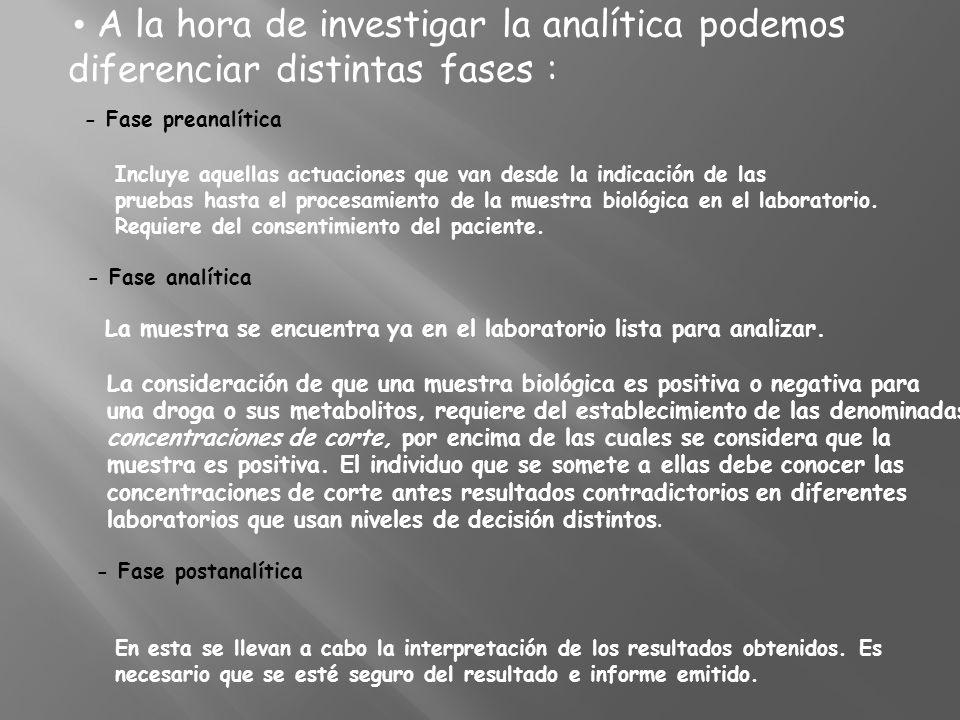 A la hora de investigar la analítica podemos diferenciar distintas fases : - Fase preanalítica Incluye aquellas actuaciones que van desde la indicació
