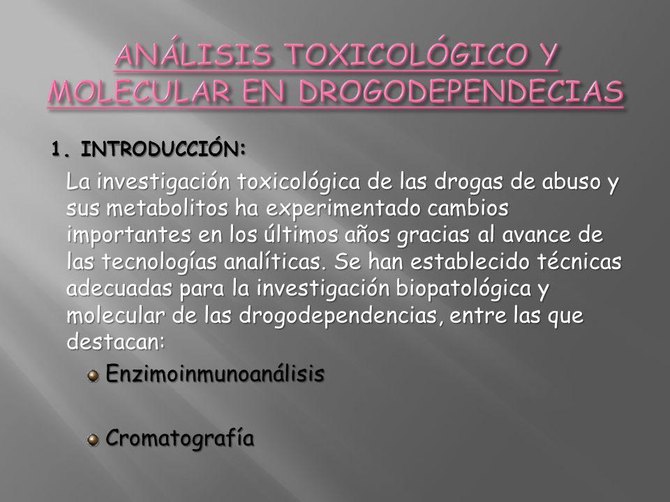 1. INTRODUCCIÓN : La investigación toxicológica de las drogas de abuso y sus metabolitos ha experimentado cambios importantes en los últimos años grac