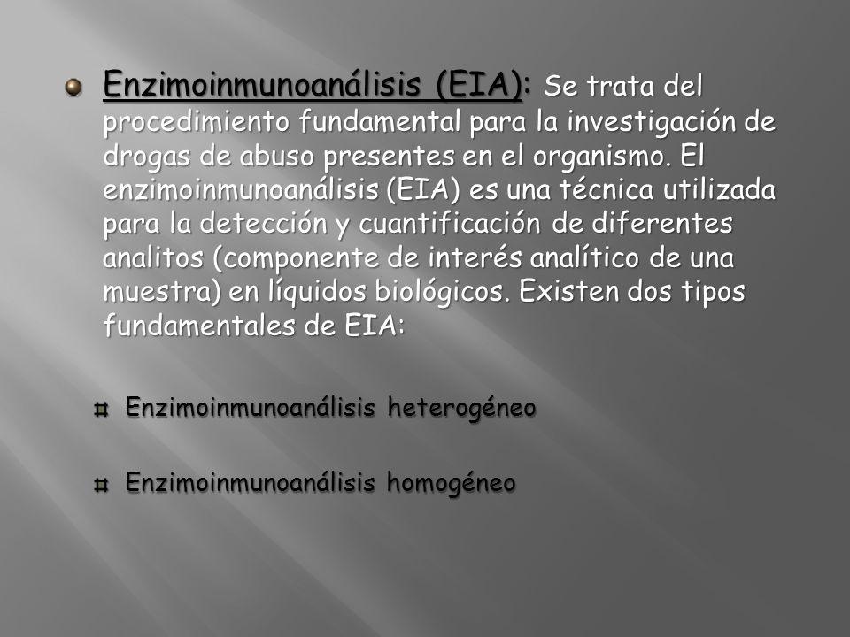Enzimoinmunoanálisis (EIA): Se trata del procedimiento fundamental para la investigación de drogas de abuso presentes en el organismo. El enzimoinmuno