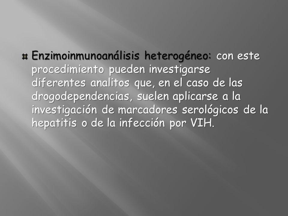 Enzimoinmunoanálisis heterogéneo: con este procedimiento pueden investigarse diferentes analitos que, en el caso de las drogodependencias, suelen apli