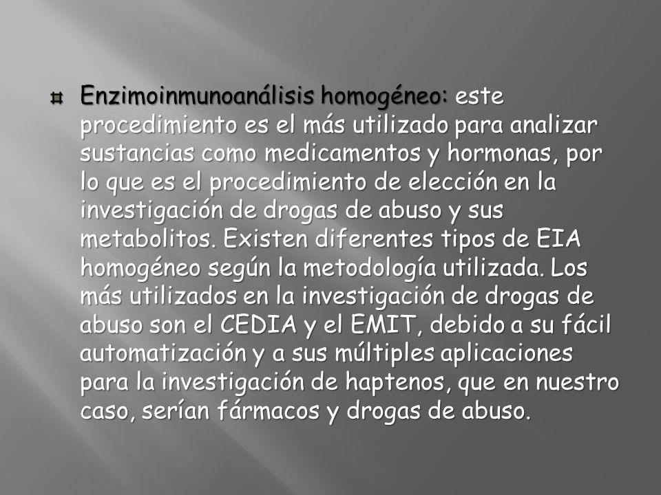 Enzimoinmunoanálisis homogéneo: este procedimiento es el más utilizado para analizar sustancias como medicamentos y hormonas, por lo que es el procedi