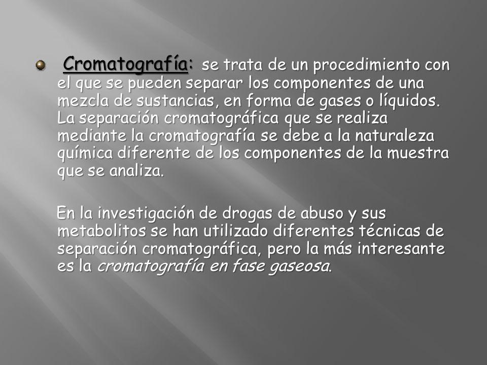 Cromatografía: se trata de un procedimiento con el que se pueden separar los componentes de una mezcla de sustancias, en forma de gases o líquidos. La